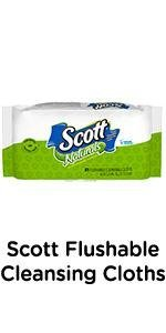 Scott Flushable Cleansing Cloths - Flushable moist wipes that are septic- and sewer-safe.