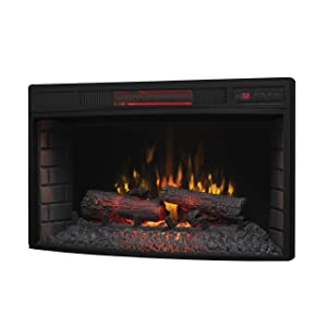 "ClassicFlame 32II310GRA 32"" Curved Infrared Quartz Fireplace Insert with Safer Plug"