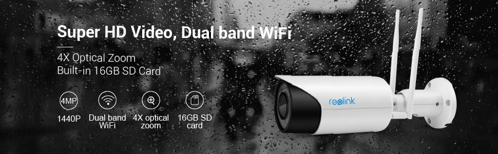 best wireless bullet security IP cameras! 4MP (1440p) super HD, a built-in 16GB SD card, dual-mode W