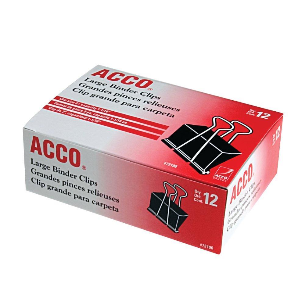 Amazon.com : ACCO Binder Clips, Large, 12 Per Box (72100) : Office
