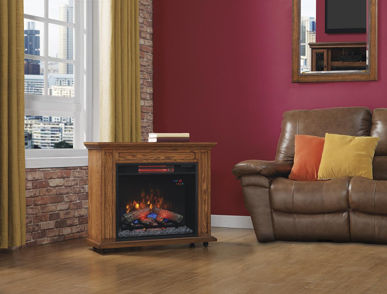 Amazon.com: ClassicFlame 23IRM1500-O107 Rolling Mantel with Infrared Quartz Fireplace
