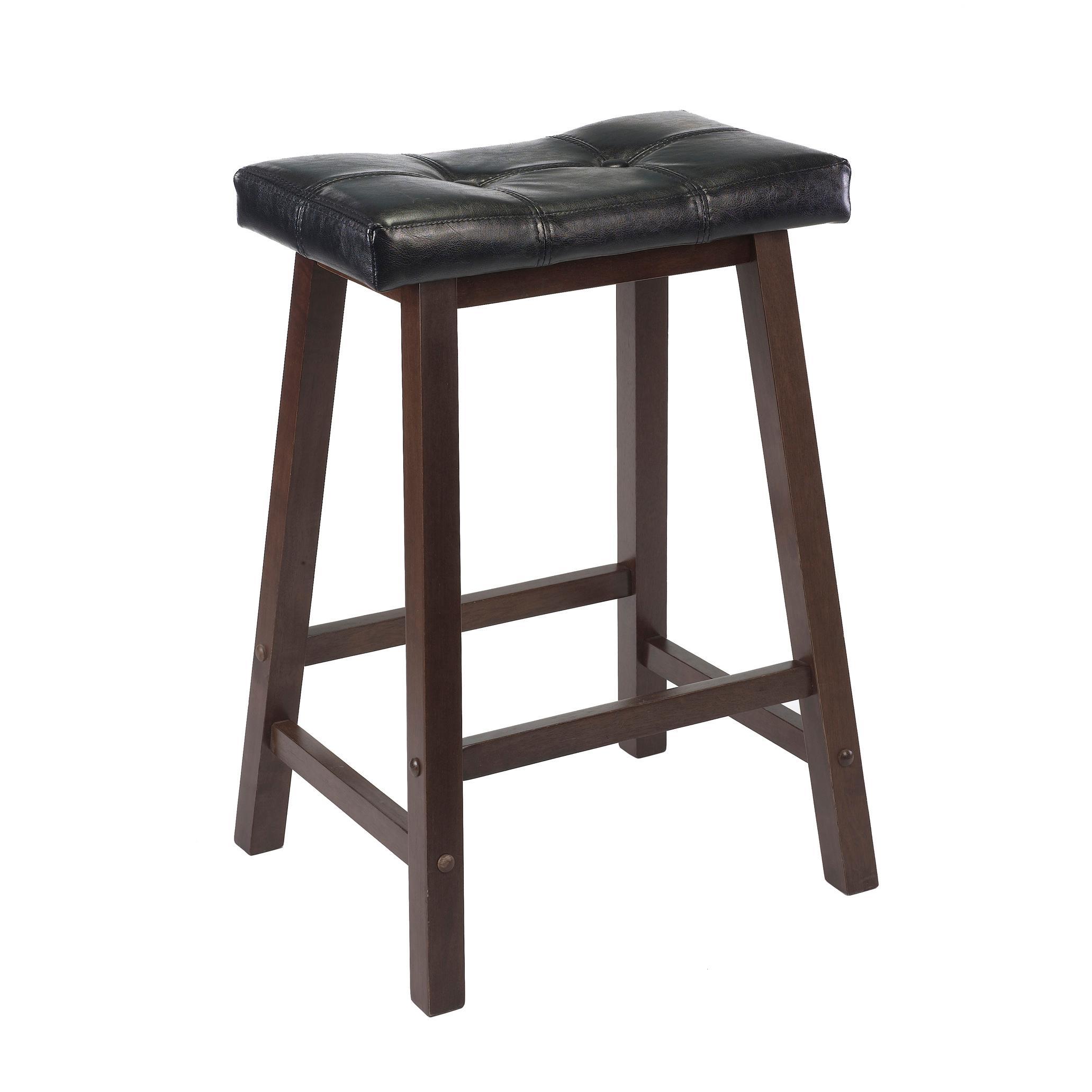 Amazon.com: Winsome Mona 24-Inch Cushion Saddle Seat Stool, Black ...