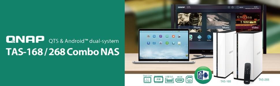 QNAP TAS-168 1-Bay Personal Cloud NAS with DLNA, Mobile Apps and Android  Display