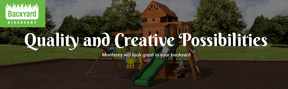Amazon Com Backyard Discovery Monterey All Cedar Wood Playset Swing