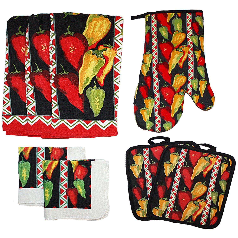 j m home fashions 8 piece printed kitchen towel set