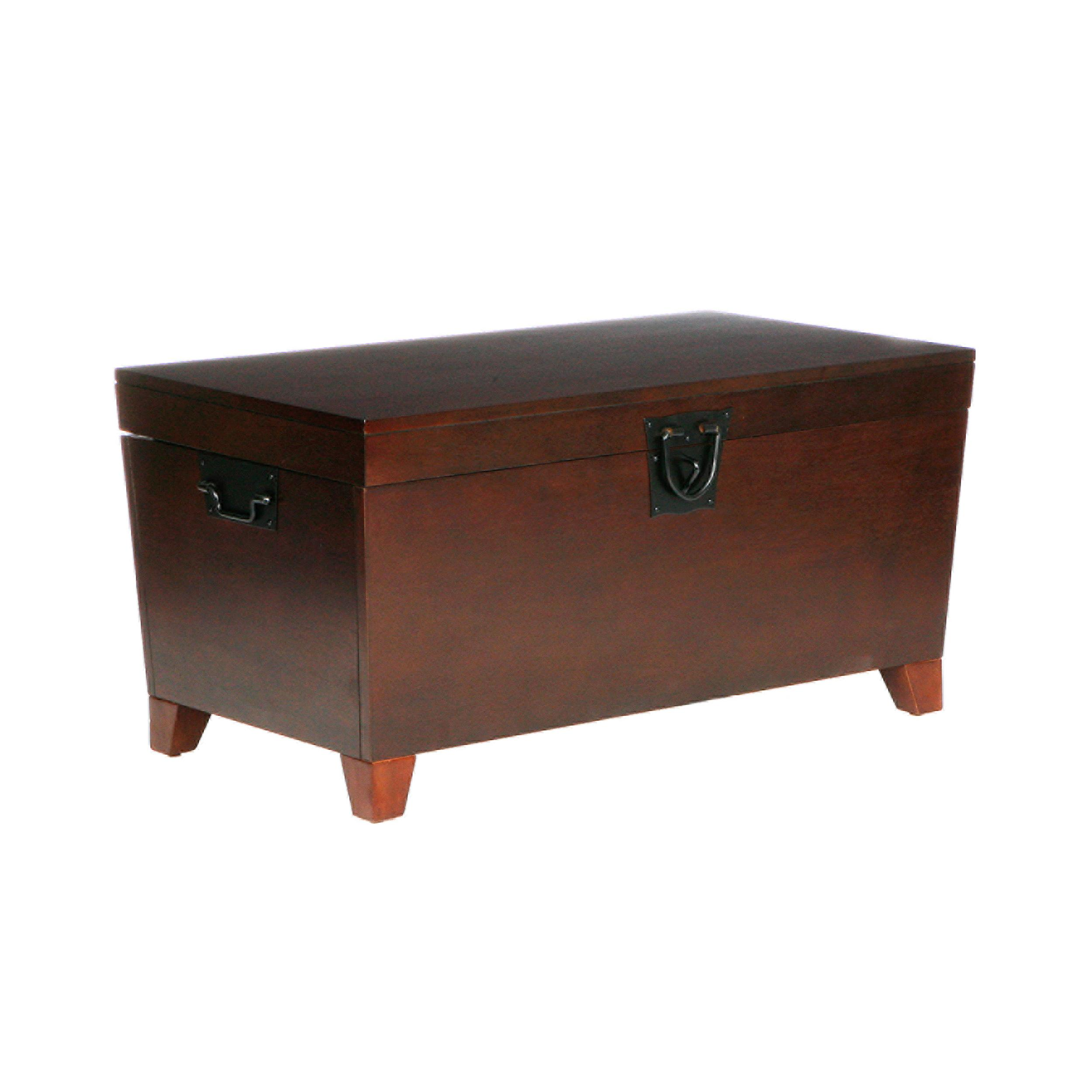 Southern enterprises pyramid storage trunk cocktail table espresso finish kitchen Trunk coffee tables