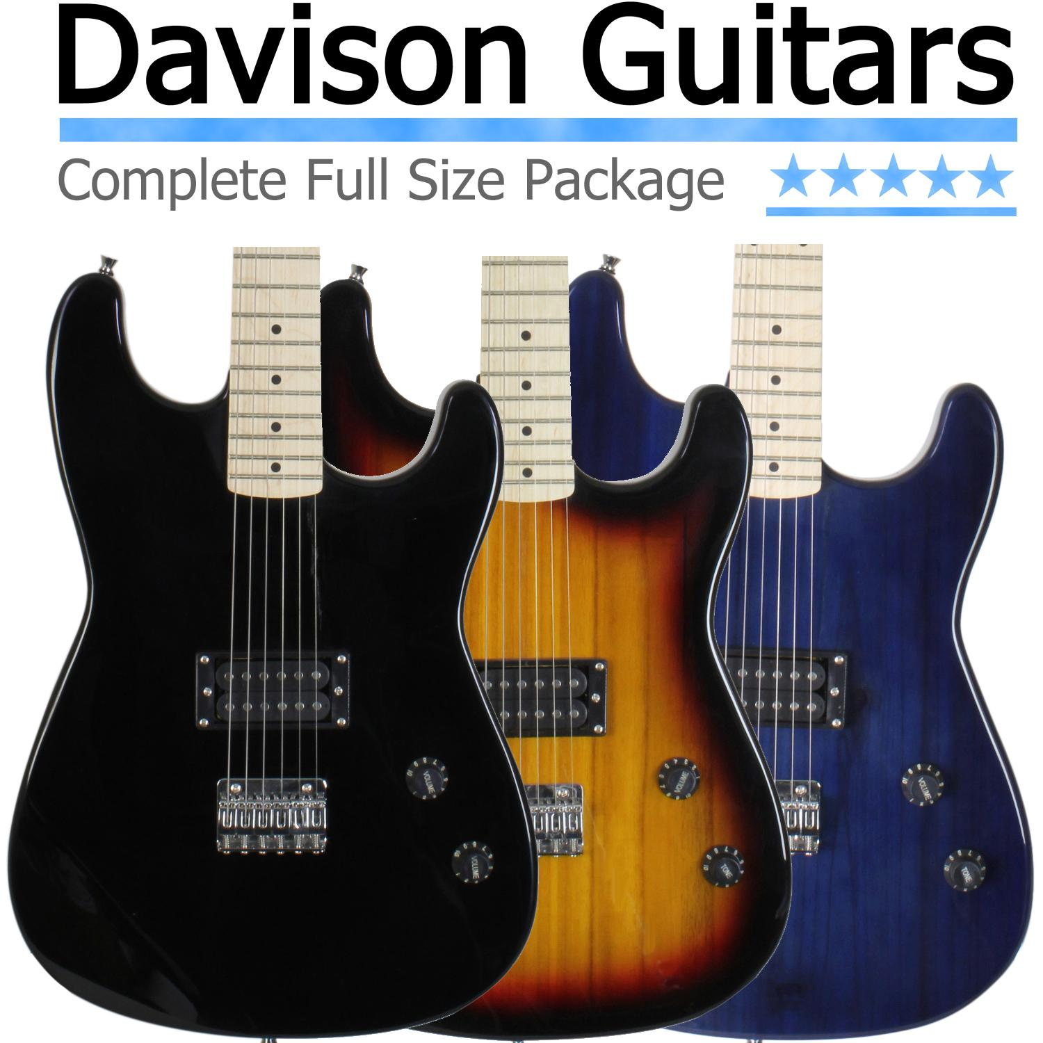 davison guitars full size black electric guitar with amp case and accessories pack. Black Bedroom Furniture Sets. Home Design Ideas