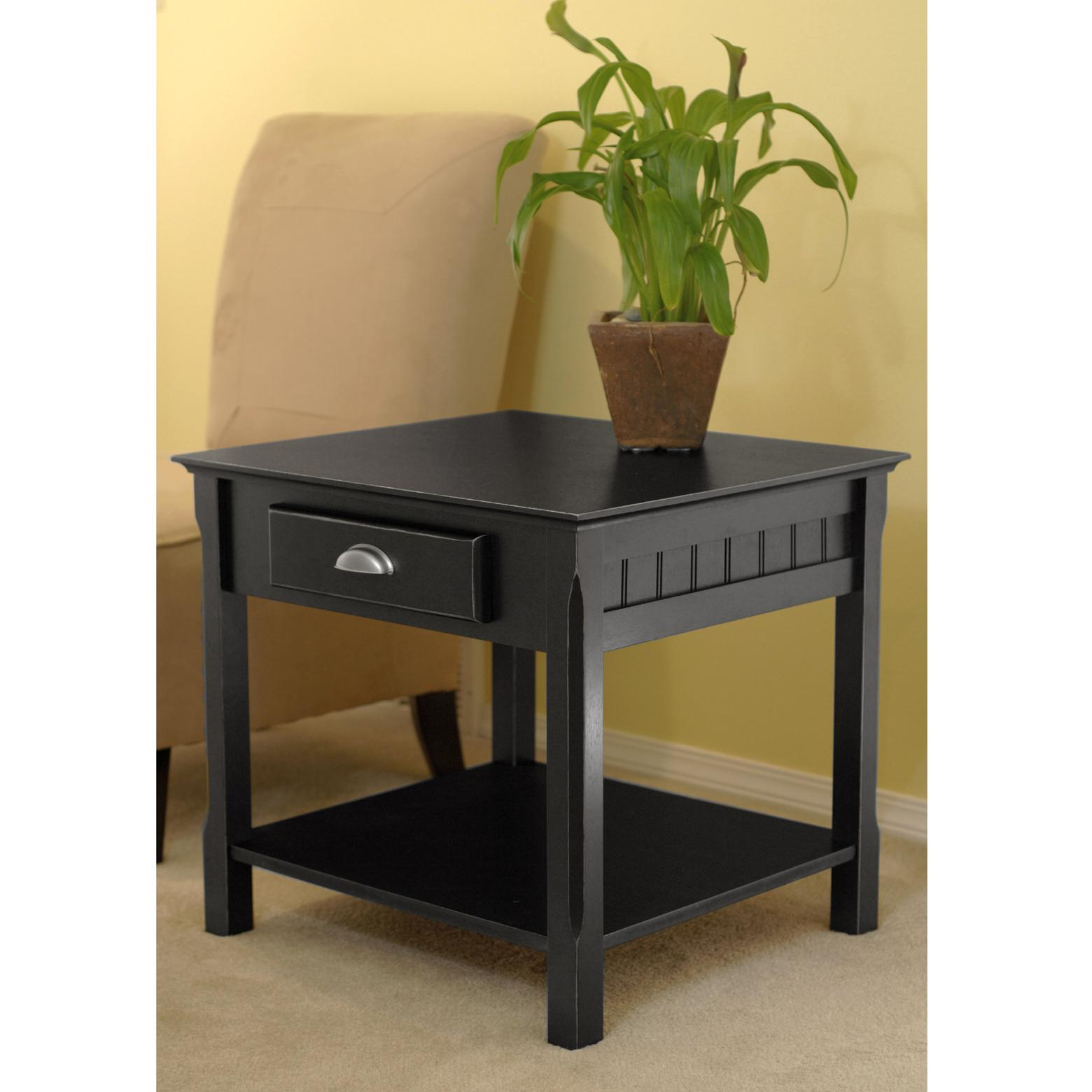 Amazon Winsome Wood End Table with Drawer and Shelf Black
