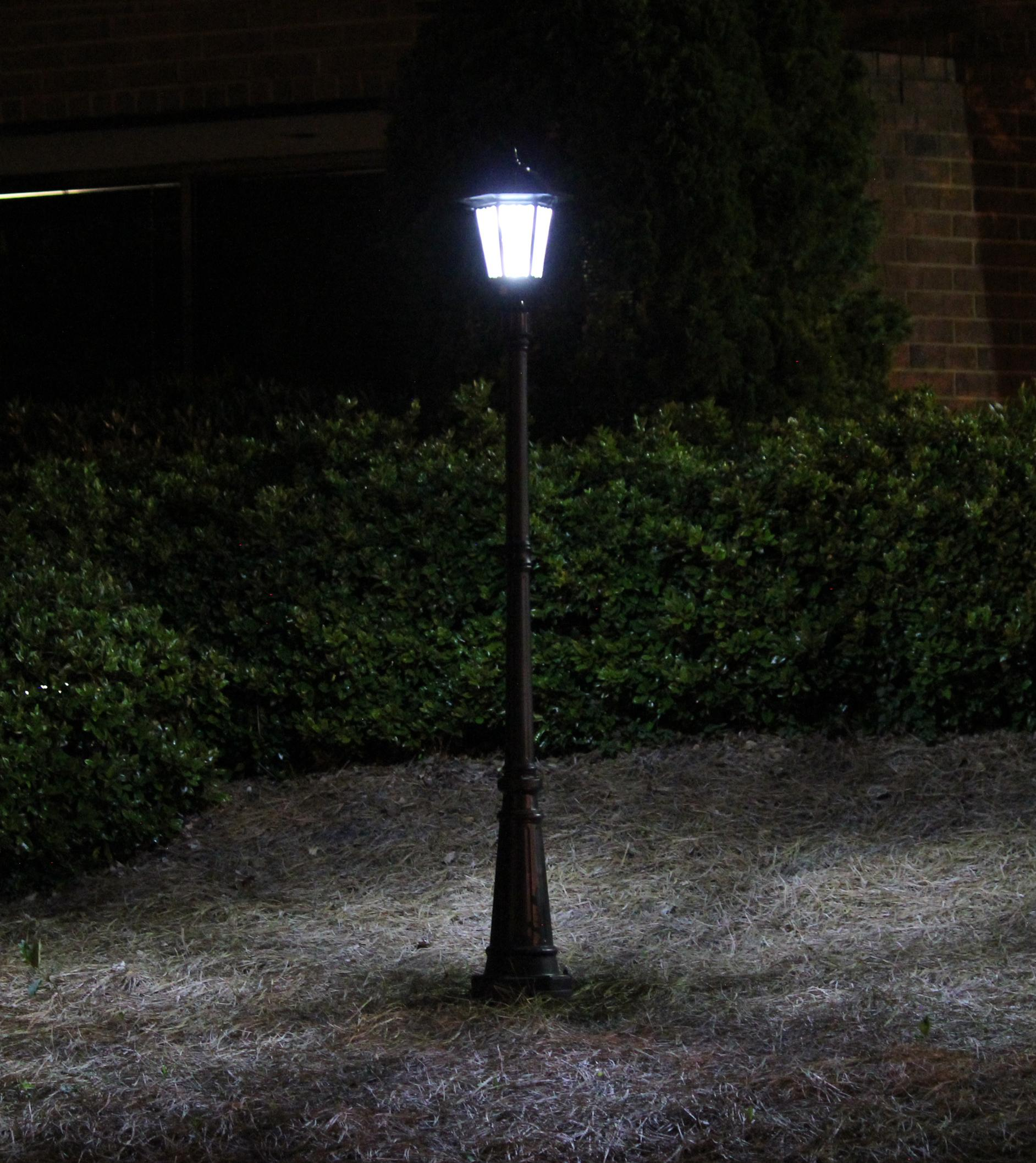 Gama Sonic Windsor Outdoor Solar Light GS 99F Outside At Night
