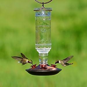 Antique Bottle Glass Hummingbird Feeder