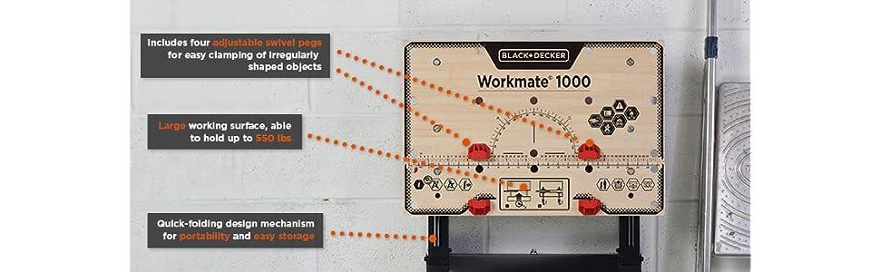 Black Amp Decker Wm1000 Workmate Workbench Power Tool