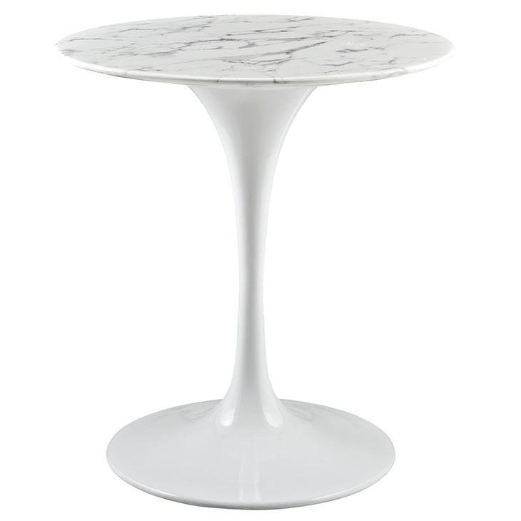 Amazoncom Modway Lippa Round Faux Marble Top Dining Table In - Round marble cafe table