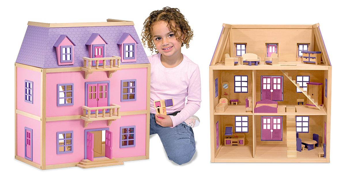 Melissa Doug Multi Level Wooden Dollhouse With 19 Pcs Furniture Melissa Doug