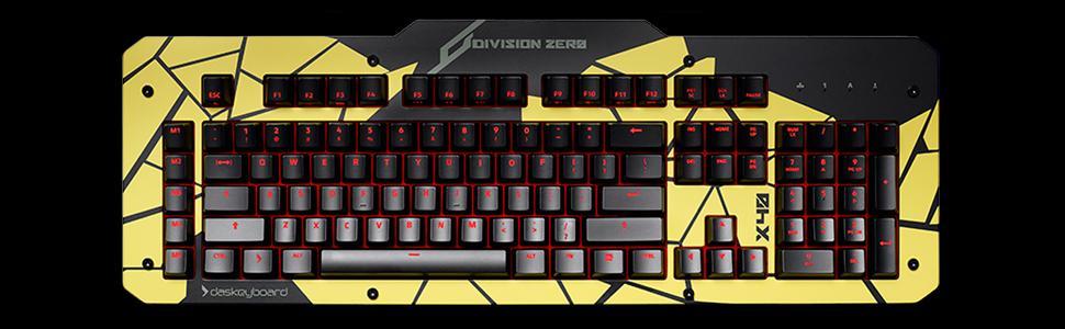 Das Keyboard, Division Zero, X40 Gaming Mechanical Keyboard, Aluminum Top Panel, Mustard, Defamer