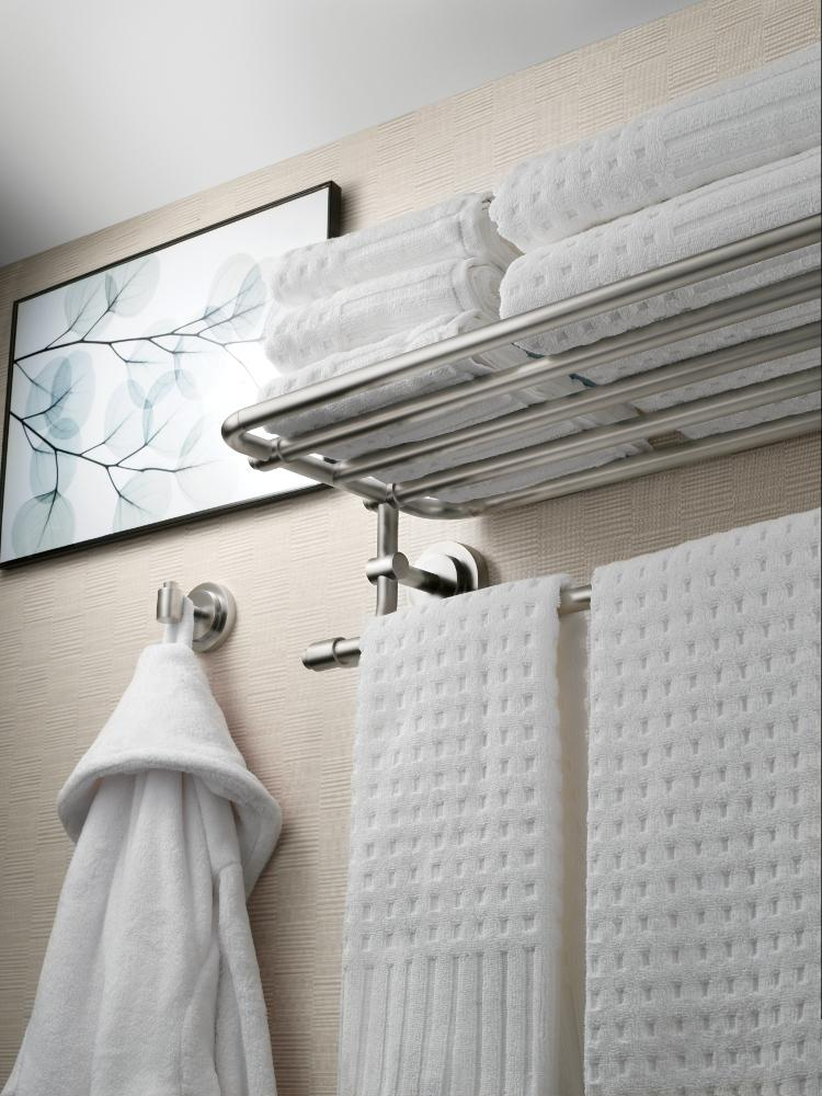 225 & Moen DN0794CH Iso 24-Inch Wide Bathroom Hotel-Style Towel Shelf with Towel Bar Chrome