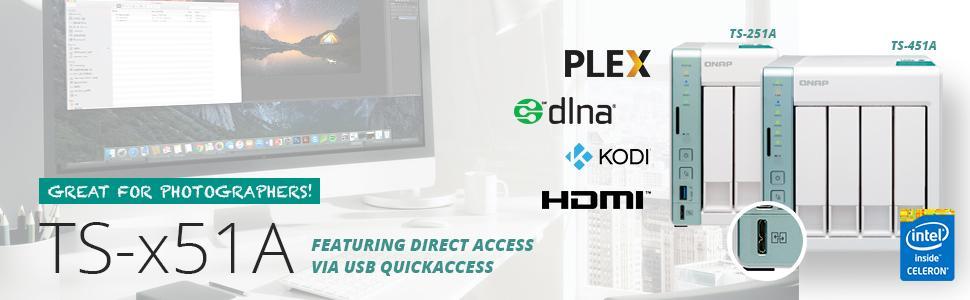 Qnap TS-451A-2G-US Personal Cloud NAS/DAS with USB Direct Access HDMI Local  Display