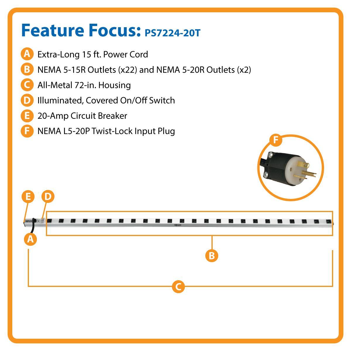 Amazon.com: Tripp Lite 24 Outlet Bench & Cabinet Power Strip, 22 5 ...