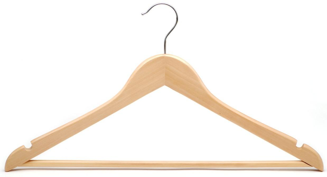 The wood hangers colors include white, ivory, cherry, bamboo, natural wood, and black. Available in 5 versatile finishes, designed to accent your clothing all with chrome hooks and accents. Sold by the case, all of our wholesale wooden hangers come in bulk and have the lowest price guaranteed.