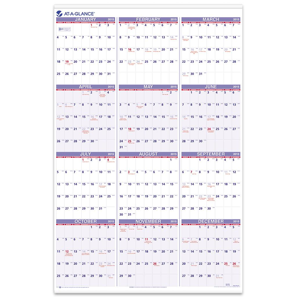 year at a glance calendar