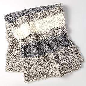 Bernat Hibernate Blanket; handmade blanket;stripe blanket;bernat yarn