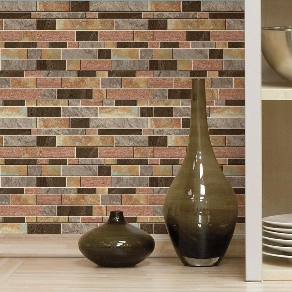 Peel And Stick Backsplash Tiles: RoomMates Modern Long Stone Peel And Stick Tile Backsplash