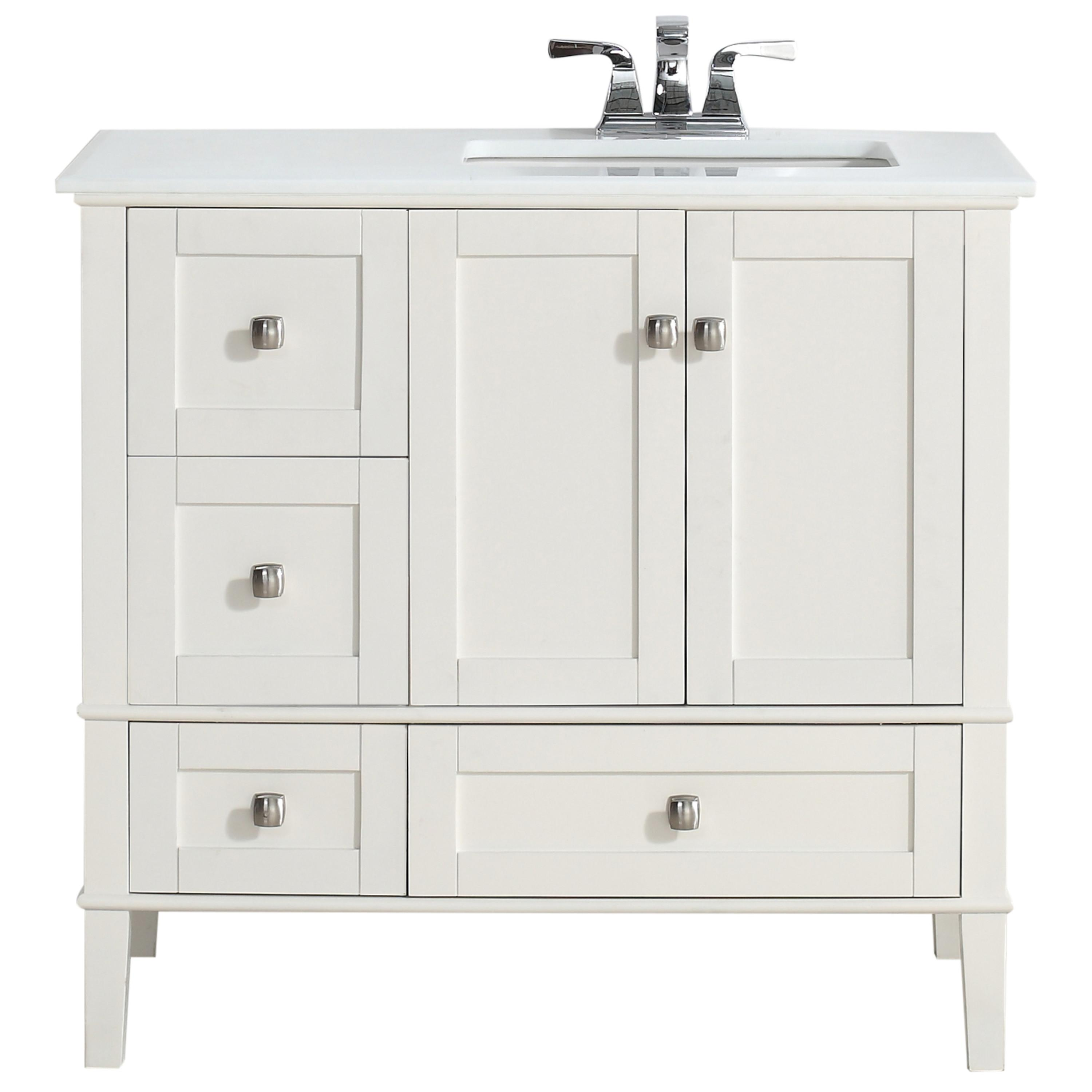 Simpli home chelsea 36 right offset bath vanity with white quartz marble top soft white - Bathroom vanity tops with offset sink design ...