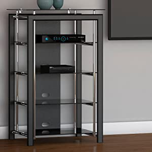 Bush Furniture, Midnight Mist, media stand, media stands, audio tower, electronics cabinet, media