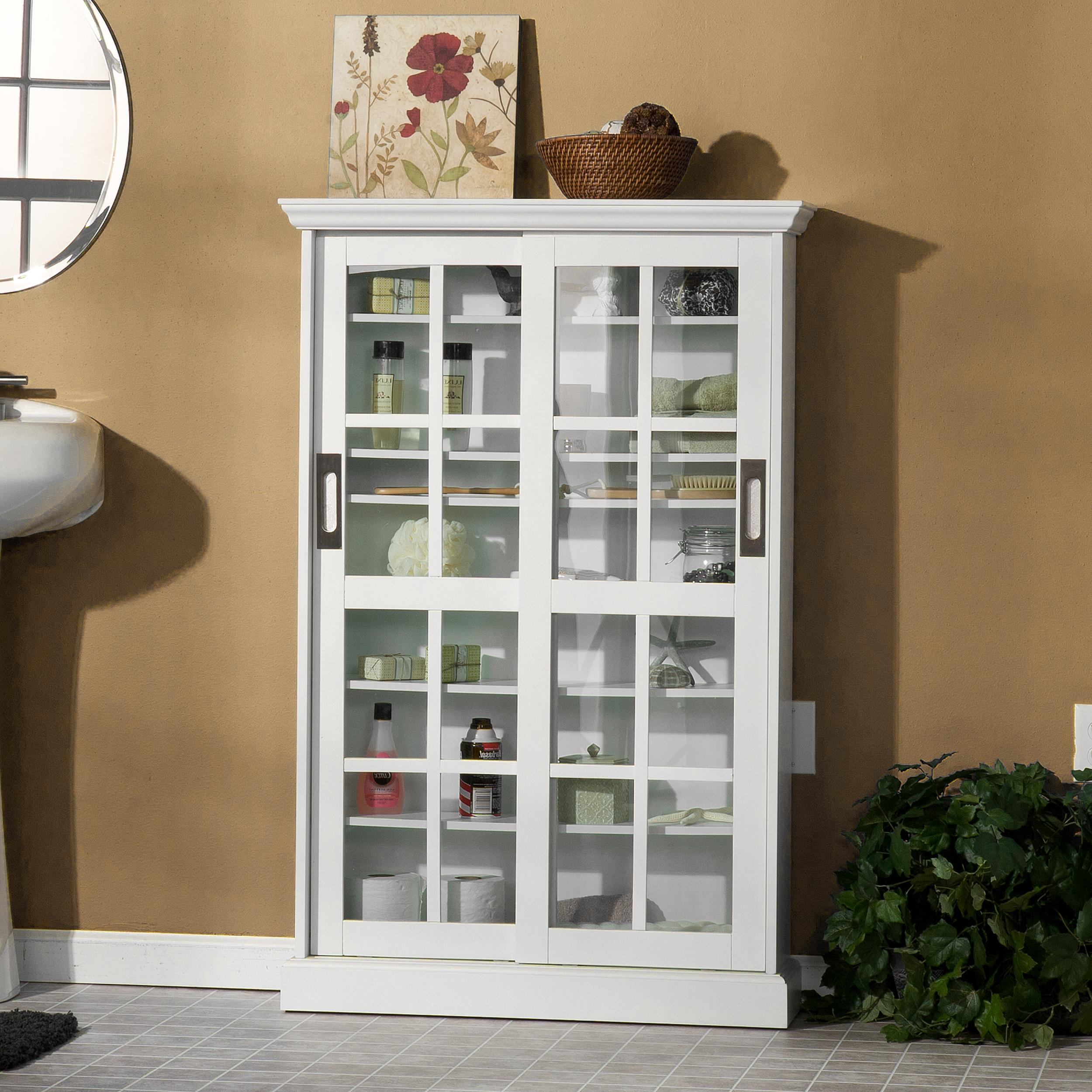 Amazoncom Sliding Door Media Cabinet White Kitchen Dining - Kitchen cabinets with sliding doors