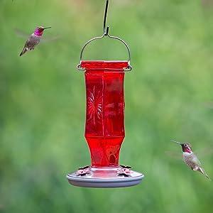 Perky-Pet Ruby Starburst Vintage Glass Hummingbird Feeder