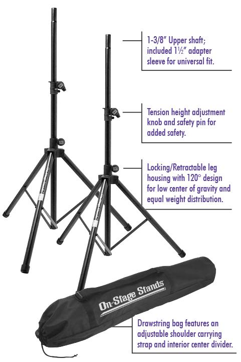 Amazon Com On Stage Ssp7900 All Aluminum Speaker Stand