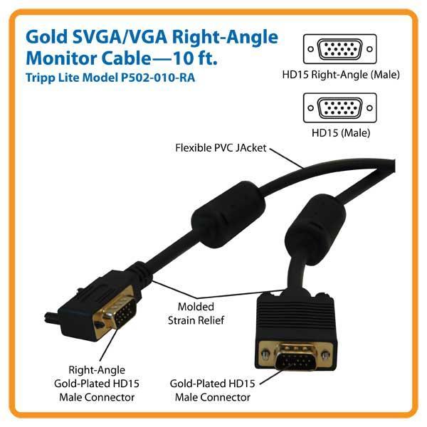 Amazon Com Tripp Lite Vga Coax Right Angle Monitor Cable