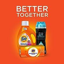 Tide Plus Downy April Fresh Liquid HE Turbo Clean Laundry Detergent; bundle
