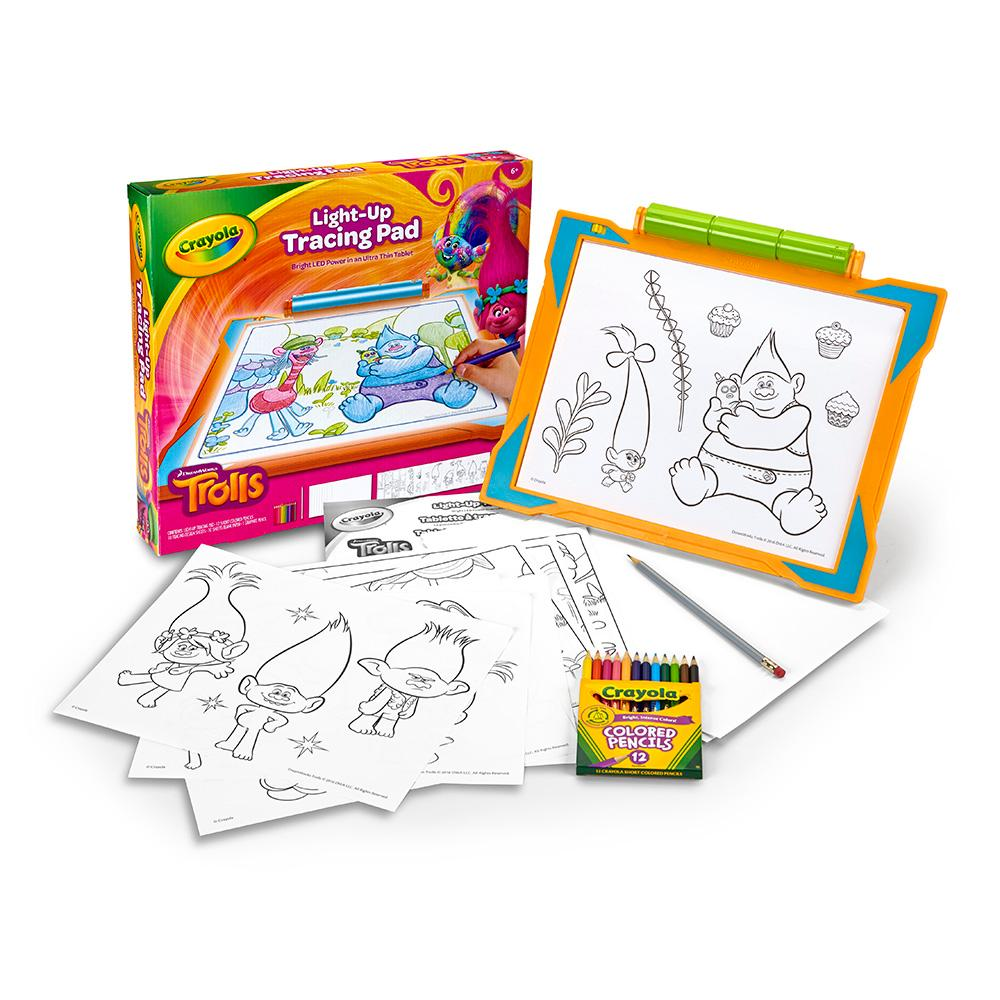 Crayola Trolls Light Up Tracing Pad Art Tool Bright Leds Easy Tracing With 1
