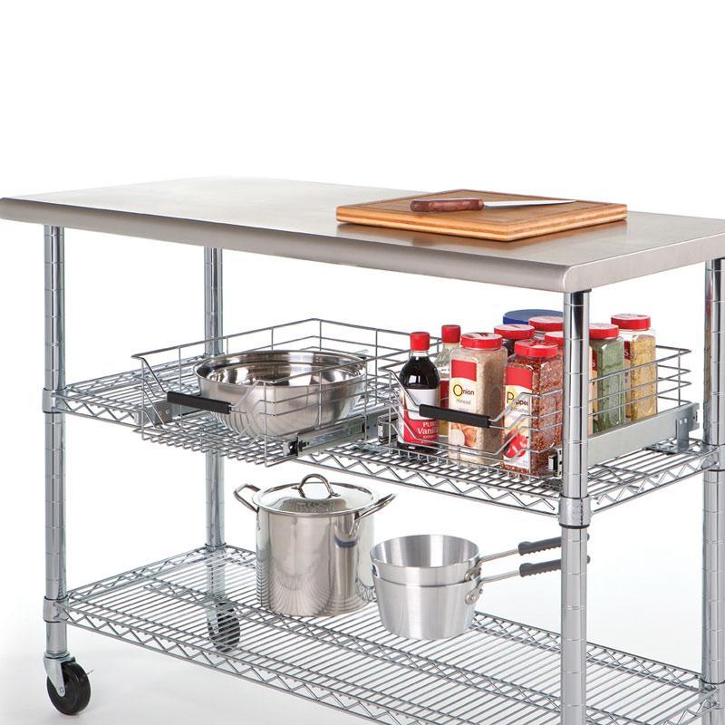 Kitchen Shelf Amazon: Amazon.com: Seville Classics Chrome Wire Sliding Storage