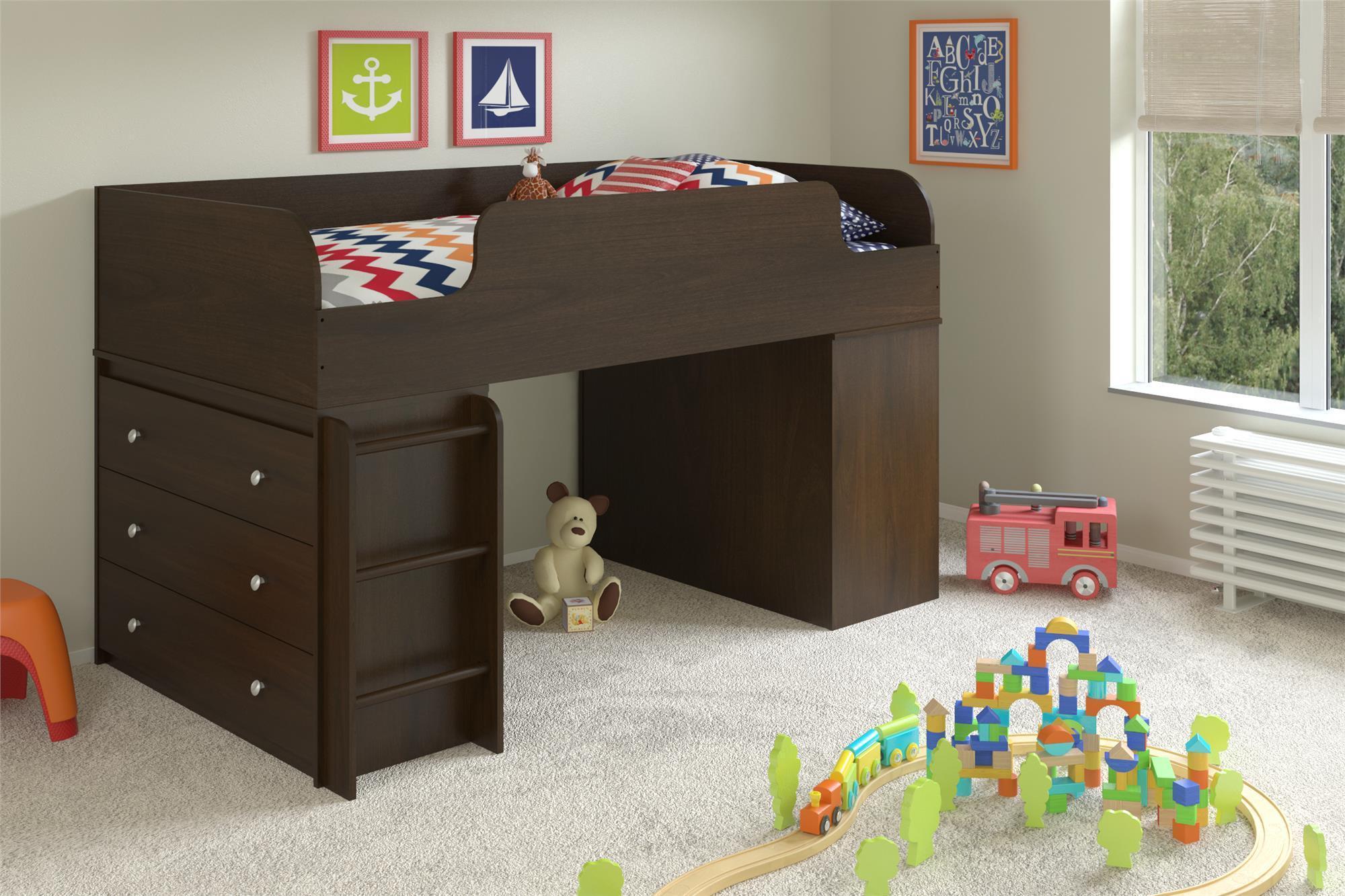 Amazon Com Ameriwood Home Elements Loft Bed With Dresser