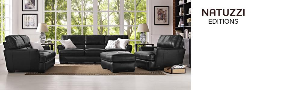 Amazon.com: Cetara Collection Black Leather Stationary Sofa ...