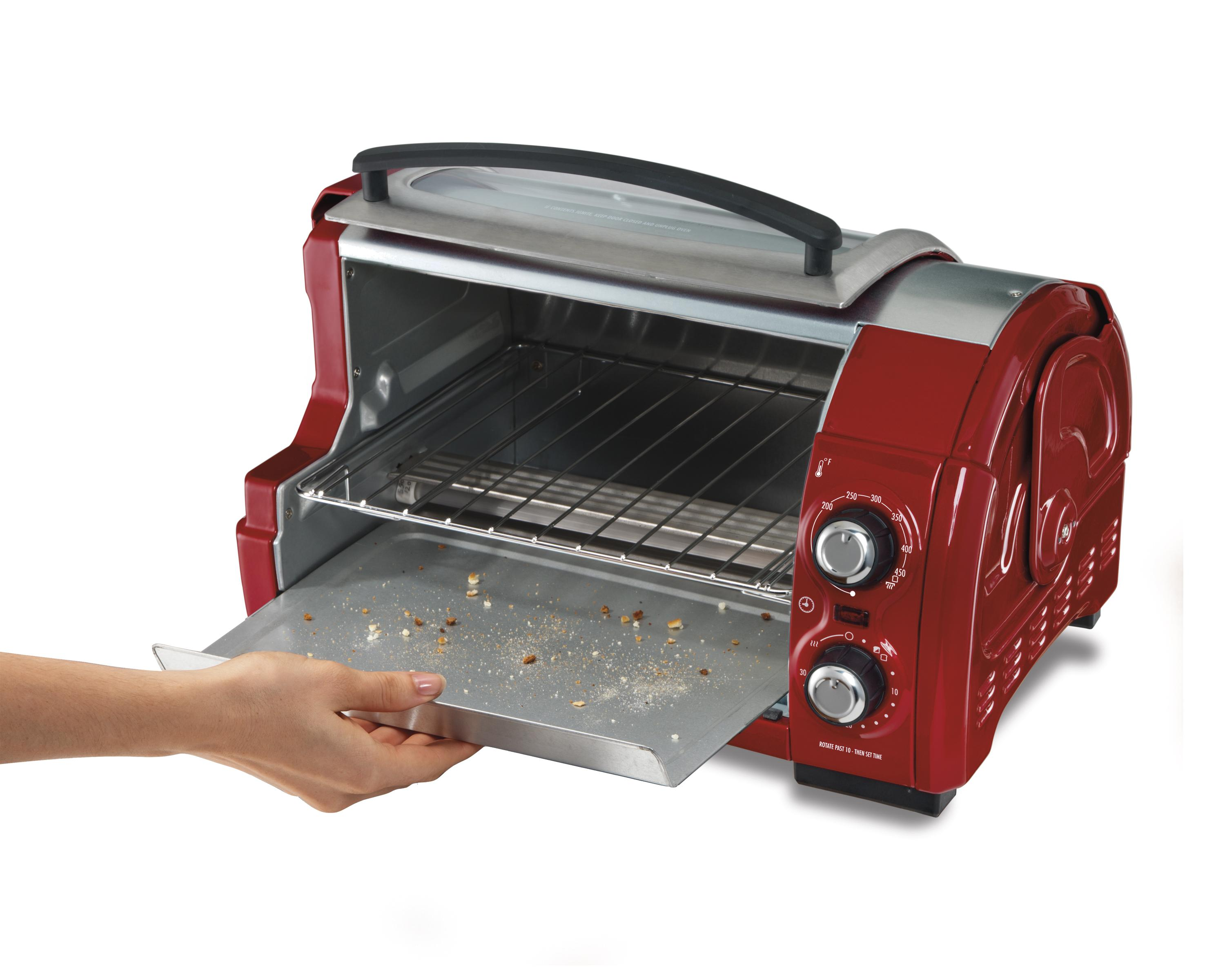 how to clean glass hamilton beach toaster oven