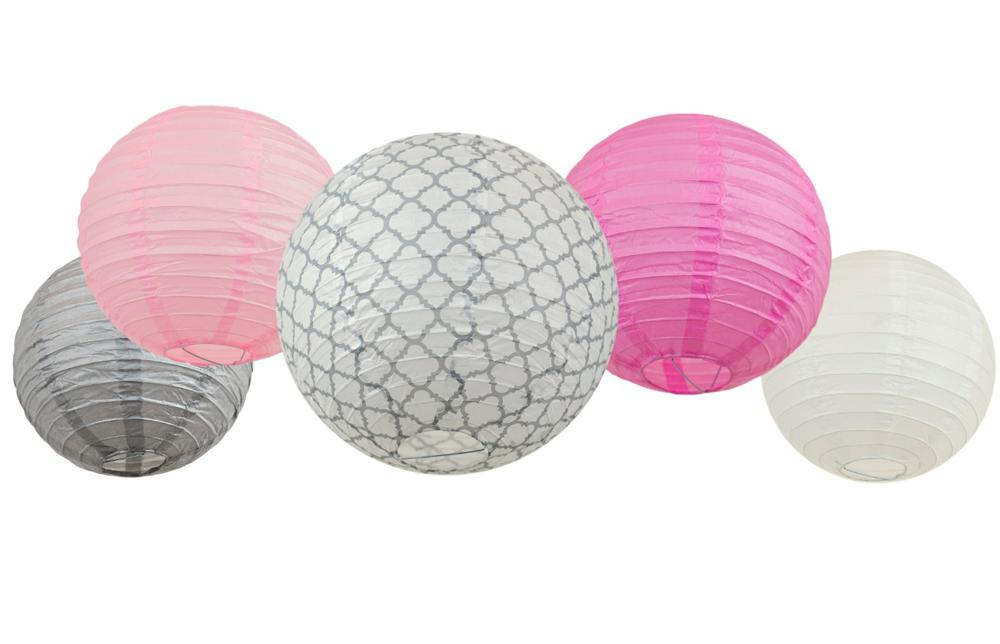 Amazon Bobee Paper Lanterns Pink And Grey Set 5