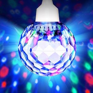 Amazon ion audio party ball 7 motorized spinning disco light inside this crystal clear sphere are dozens of bright leds that shower walls and ceiling with vivid swirling patterns of light aloadofball Images