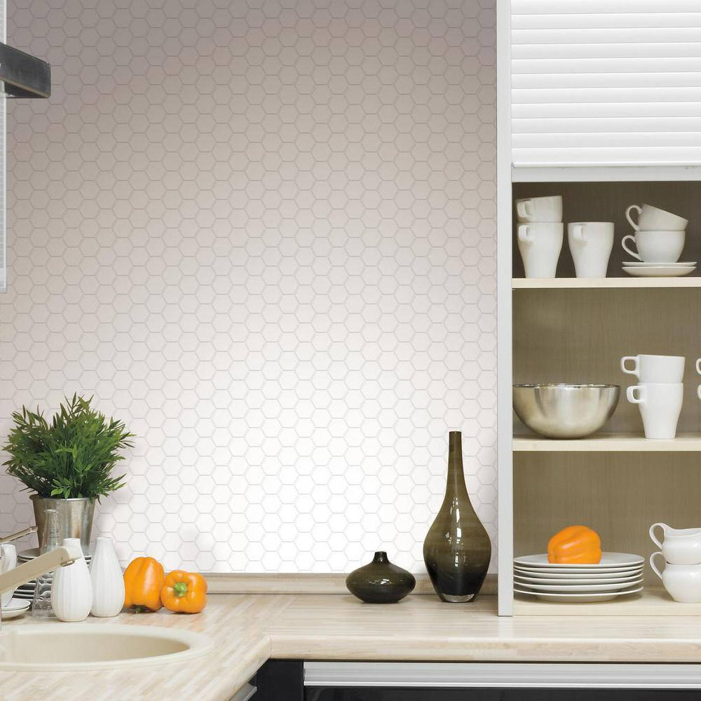 roommates pearl hexagon peel and stick tile backsplash 4 pack from the manufacturer