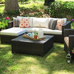 Patio Furniture, Outdoor Furniture, Sunbrella, Neutral Cushions, Orange,  Wicker, Biscayne