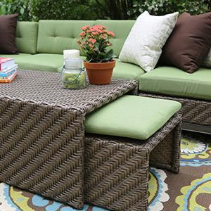 Patio Furniture, Outdoor Furniture, Sunbrella, Aluminum, All Weather  Wicker, Green,