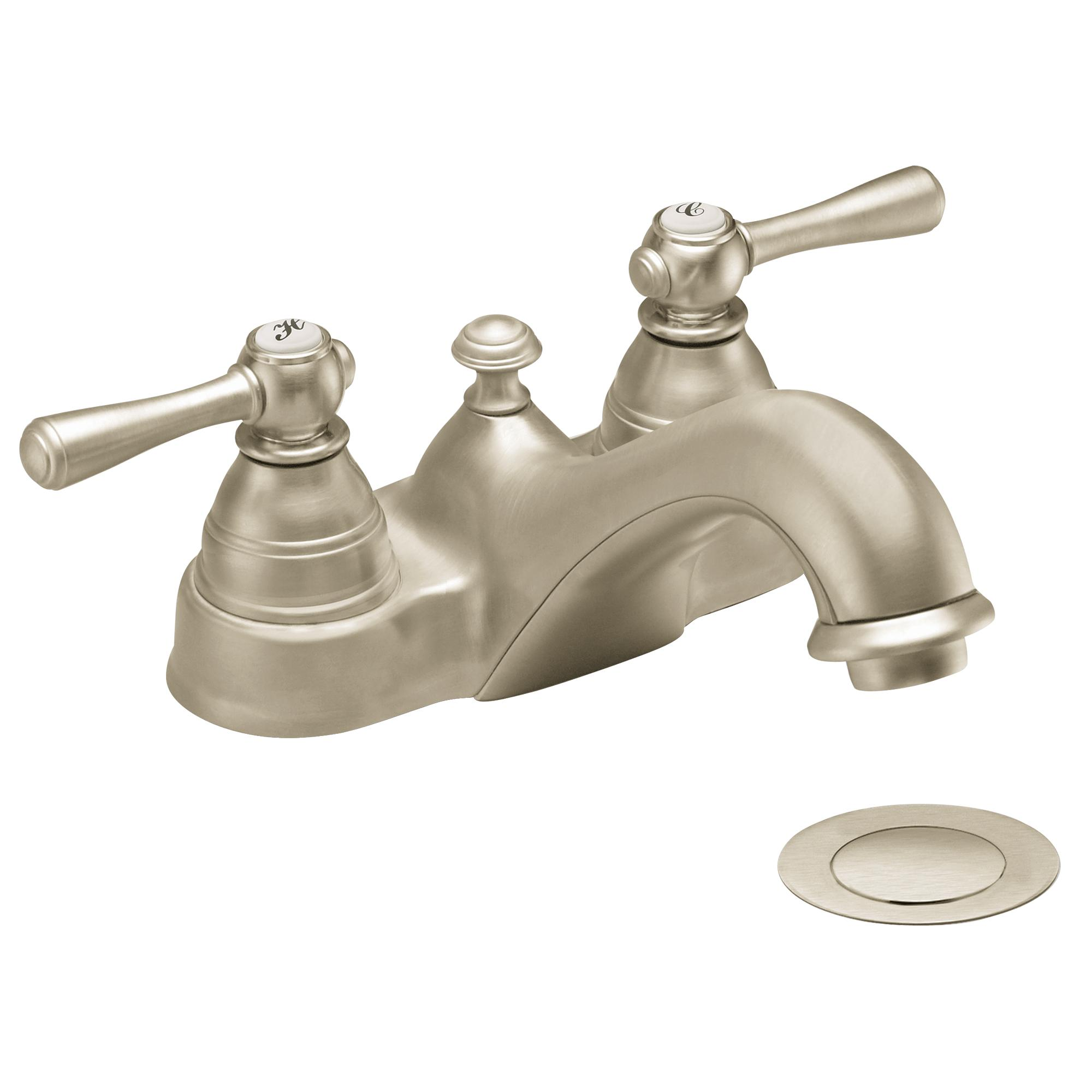 Moen 6101BN Kingsley Two-Handle Low Arc Bathroom Faucet, Brushed ...