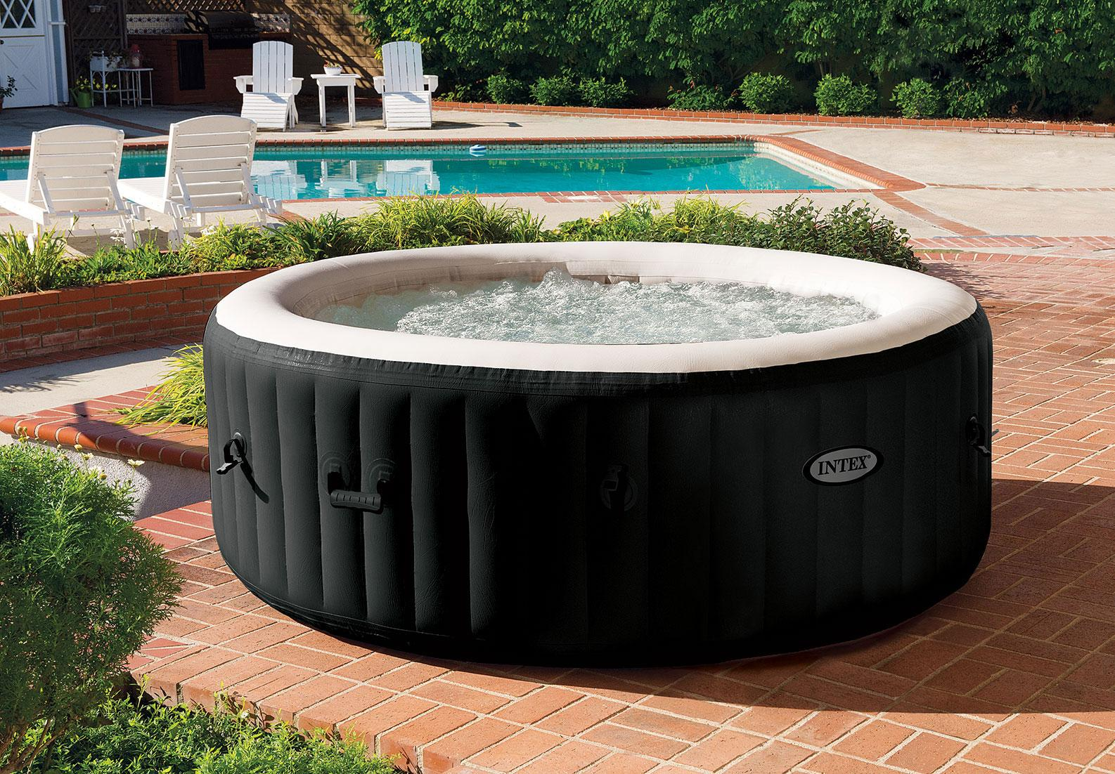intex purespa jet bubble deluxe portable hot tub round 77 onyx black garden. Black Bedroom Furniture Sets. Home Design Ideas