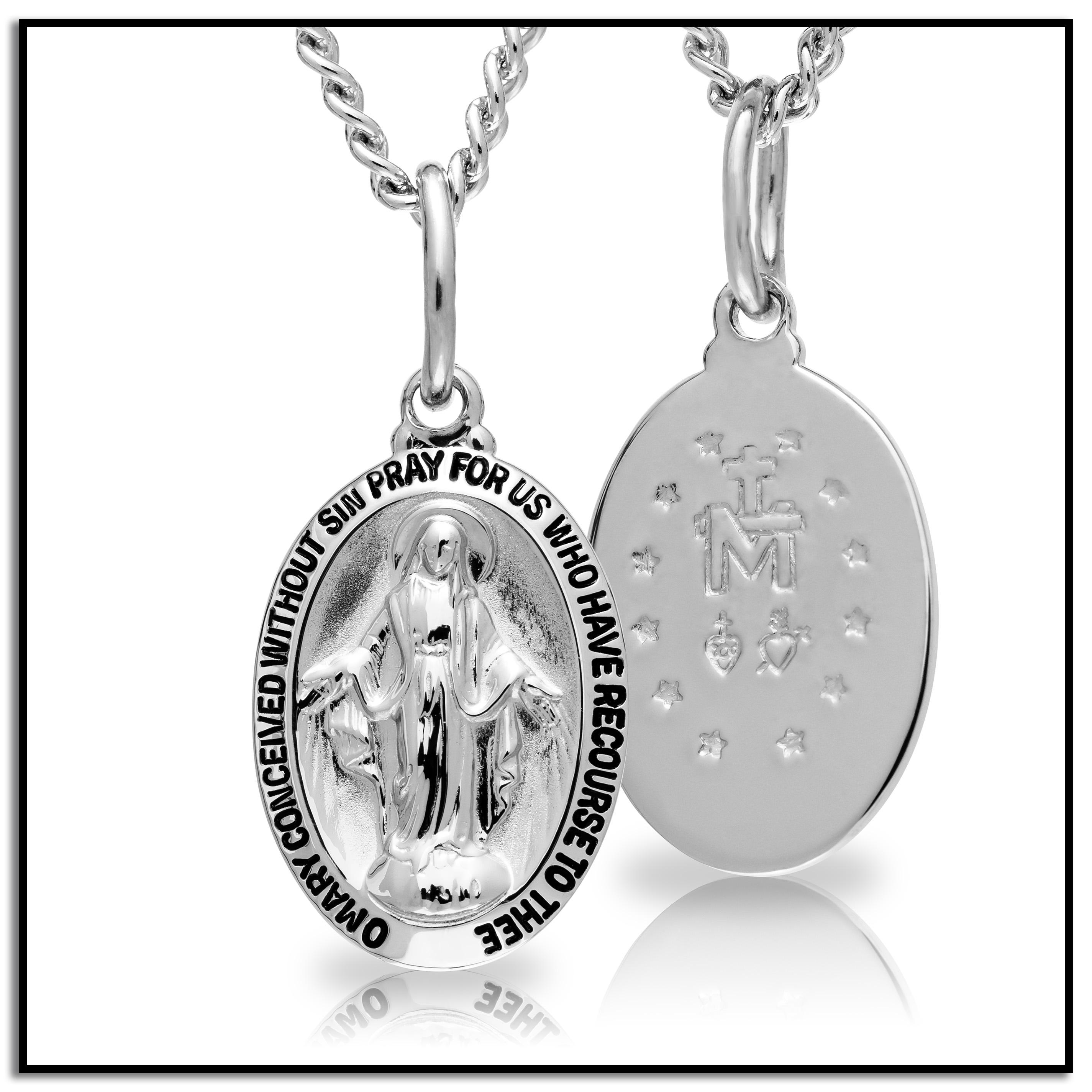 Amazon Sterling Silver Miraculous Medal With Stainless Steel