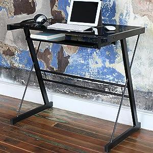 Amazon Com Glass Metal Silver Computer Desk Kitchen Amp Dining