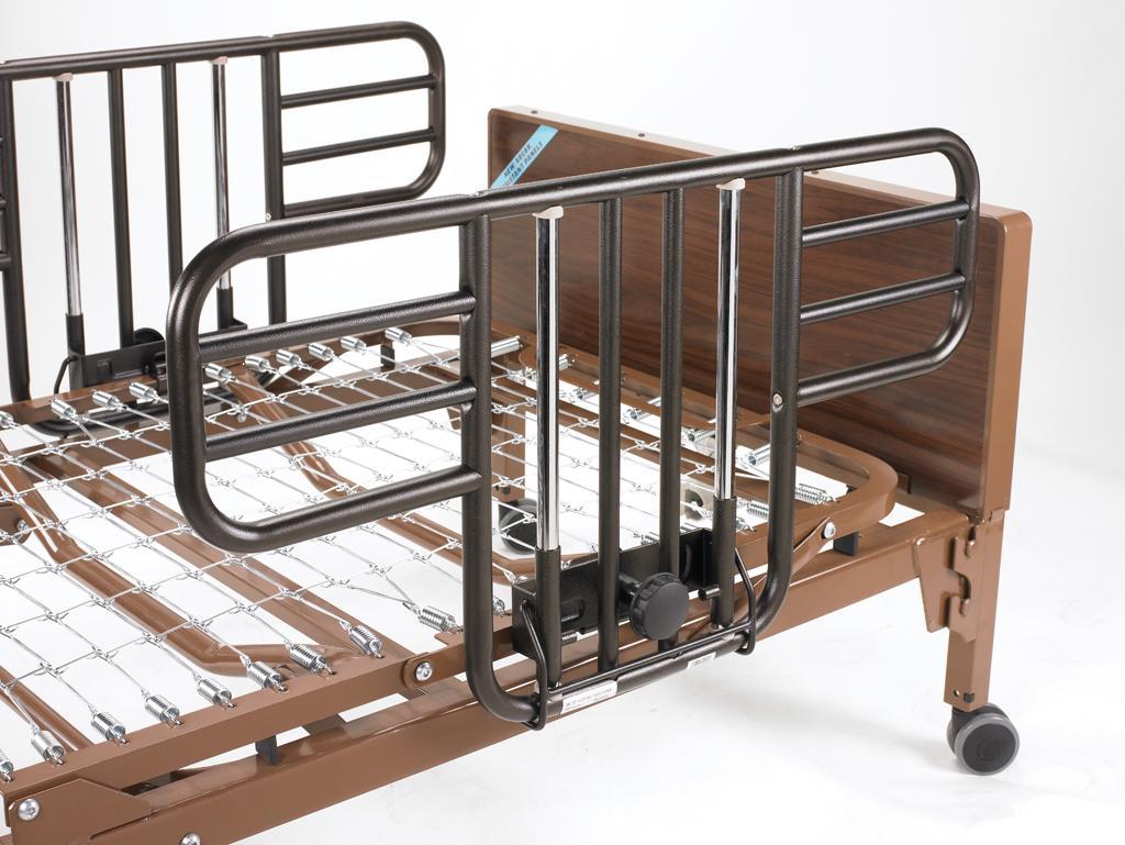 drive medical no gap deluxe half length side bed rails with brown vein finish brown. Black Bedroom Furniture Sets. Home Design Ideas