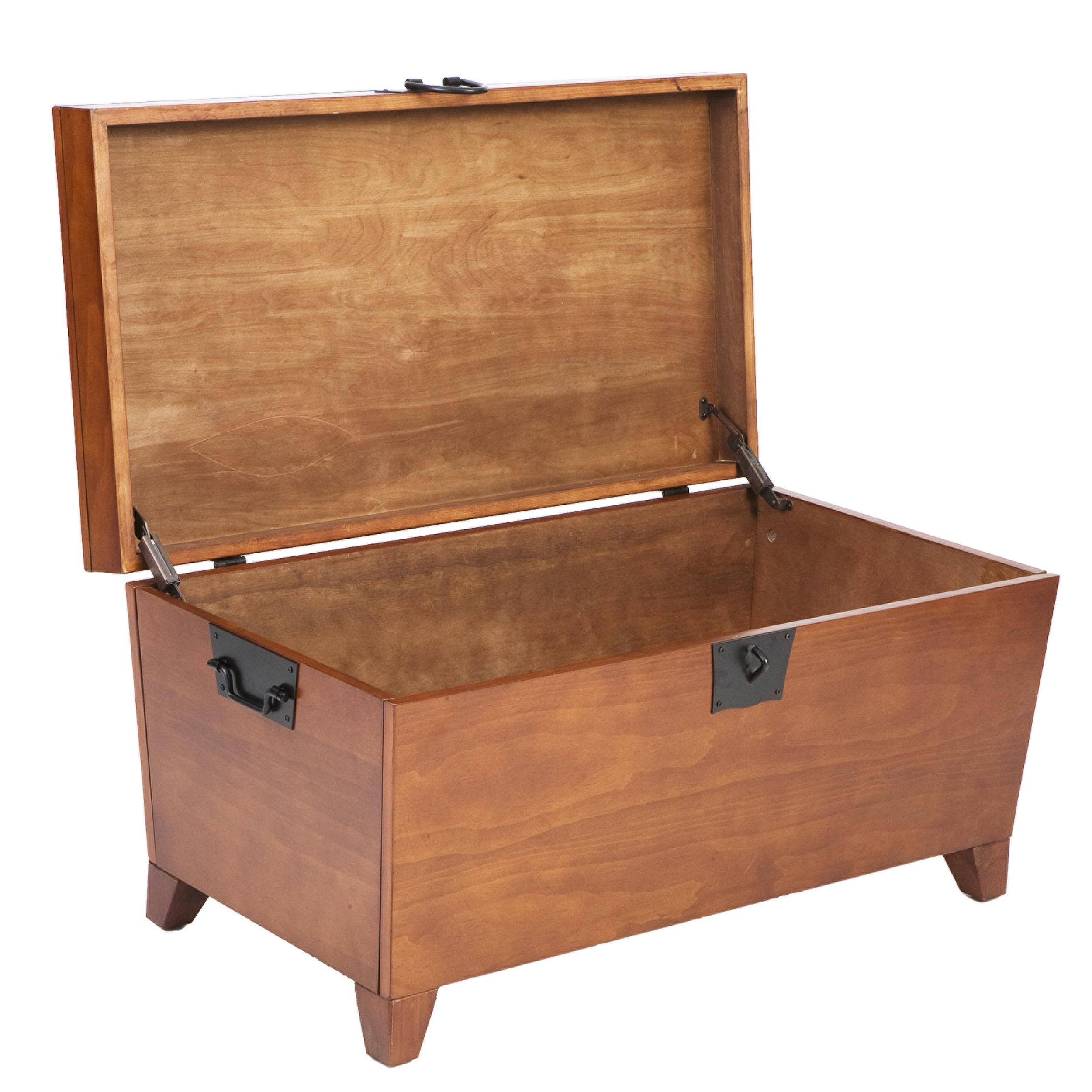 Southern Enterprises Pyramid Storage Trunk Cocktail Table Mission Oak Finish