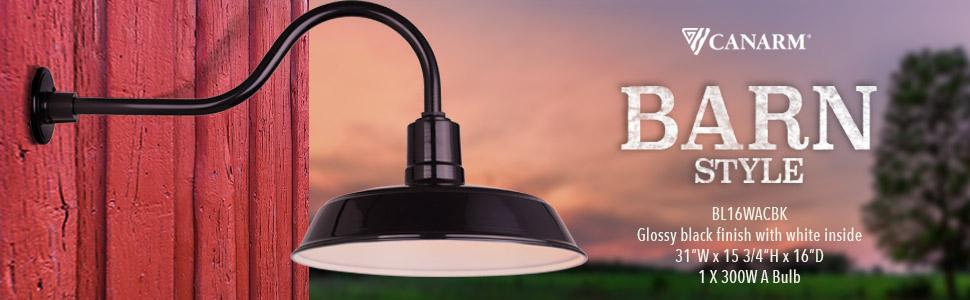 canarm bl16wacbk outdoor aluminum barn light amazon com