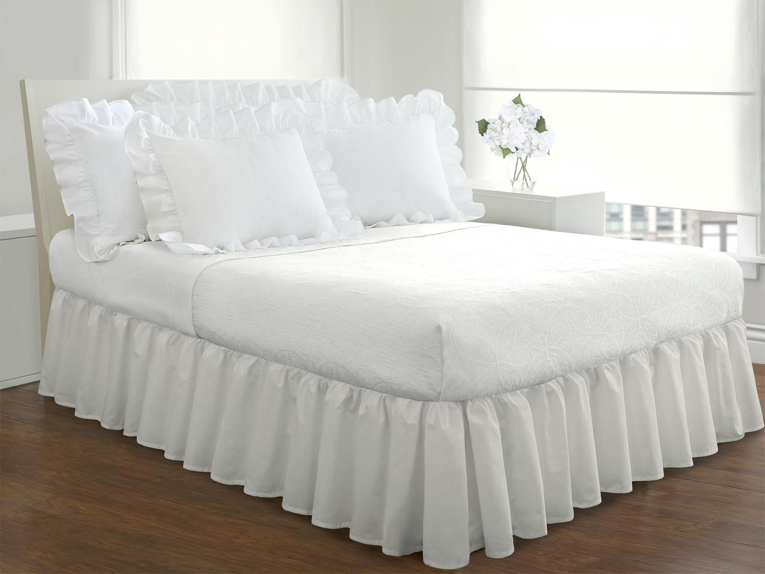 fresh ideas bedding ruffled bed skirt classic 14 drop length gathered ebay. Black Bedroom Furniture Sets. Home Design Ideas